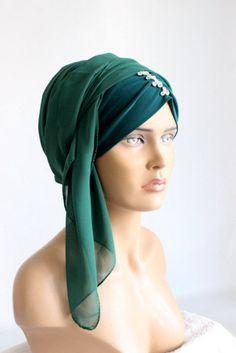 green headcovering  - head scarf -  tichel - green hijab scarf - muslim scarves -  ready-to-wear