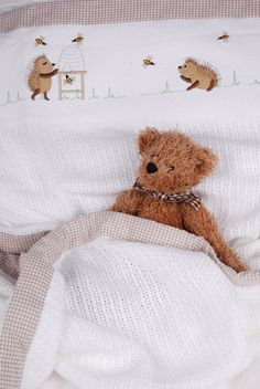Happy Hedgehogs Cotton cellular blanket with stone gingham trim - an absolute must-have item for every baby, making this the ideal baby gift! From www.tomandbella.co.za Happy Hedgehog, Must Have Items, Hedgehogs, Gingham, Baby Gifts, Teddy Bear, Stone, Cotton, Batu
