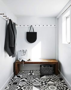 black and white mud room