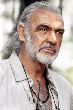 """Sean Connery ~ Met the cinematographer for this movie """"The Medicine Man"""" ~ So, interesting! I a huge fan of Sean Connery ~ since I was a very young child watching watching ~ Loved it then love it still. Older Mens Hairstyles, Top Hairstyles, Actrices Hollywood, Sean Connery, Hommes Sexy, Ageless Beauty, Grey Hair, Famous Faces, Gorgeous Men"""