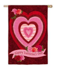 """Burlap /""""Happy Valentine/'s Day Y/'all/"""" Big Red Heart look applique Garden flag"""