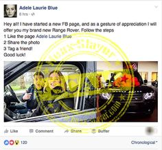 Bogus 'Adele Laurie Blue' Facebook Page Promises Free Range Rovers - Like-Farming Scam