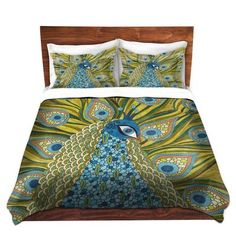 Duvet Cover Brushed Twill Twin, Queen, King Sets DiaNoche Designs by Valerie Lorimer Home Decor Bedding Ideas - The Peacock Duvet Cover Sizes, Bed Duvet Covers, King Duvet, Queen Duvet, Peacock Bedding, Peacock Bedroom, Contemporary Duvet Covers, Home Decor Bedding, Luxury Bedding Collections