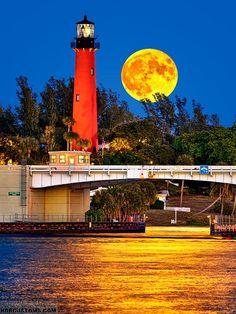 Full Moon over Jupiter Lighthouse  shot from Sawfish Bay Park in Jupiter, Florida.