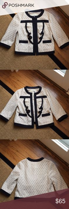 Anthropologie Ivory Laced Jacket by Tabitha Great Condition Anthropologie Jackets & Coats Blazers