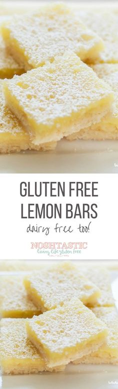 Rate Couldn't even tell they were made with gluten free flour, as well as dairy free butter! A delicious Dairy Free and Gluten Free lemon bars recipe with the best shortbread base. They're the tastiest gluten free dessert bars you'll ever try! Gluten Free Deserts, Gluten Free Sweets, Gluten Free Cakes, Foods With Gluten, Gluten Free Cooking, Dessert Oreo, Dessert Sans Gluten, Brownie Desserts, Dessert Bars