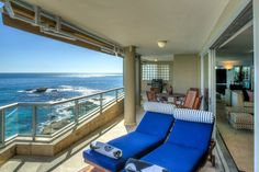 Clifton Rocks - Balcony with sun loungers and views - Nox Rentals Cape Town holiday rental property Cape Town Holidays, Open Plan Bathrooms, Clifton Beach, Shared Rooms, Beautiful Villas, Holiday Apartments, Rental Property, Luxurious Bedrooms, Sun Lounger