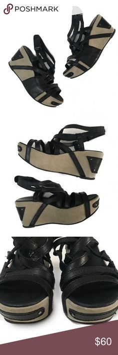 antelope • strappy wedges in good condition | does show minor wear from use | minor fraying of straps from use | minor spots on suede wedges as shown in pictures | ankle strap is velcro.   wedge height is approx. 3"