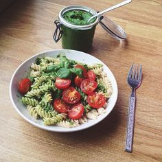 Lunch was brown rice fusilli tossed with a creamy avocado super greens sauce and cherry tomatoes and topped with fresh basil and a sprinkle of nutritional yeast  #Padgram