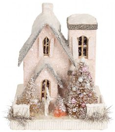 glitter houses - Google Search Christmas Village Houses, Christmas Town, Putz Houses, Christmas Villages, Fairy Houses, Pink Christmas, Christmas Holidays, Christmas Crafts, Christmas Ideas