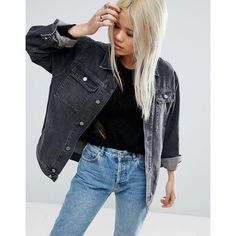 ASOS Denim Girlfriend Jacket in Washed Ozzy Black (€58) ❤ liked on Polyvore featuring outerwear, jackets, black, denim jacket, tall denim jacket, jean jacket, asos and tall jackets