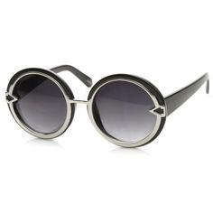 Trendy Womens Oversize Round Fashion Arrow Sunglasses 9162 | zeroUV