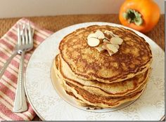 Persimmon Almond Pancakes - what a good idea to use persimmon pulp as liquid!