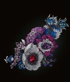Purple and Blue Flower Brooch by Michelle Ong – white and black diamond, ruby, blue, pink and purple sapphire, amethyst, rubellite and topaz...
