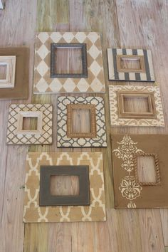Natural Neutral Wall Grouping Gallery of Custom Wood Distressed Picture Frames