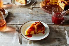 suzanne goin's creme fraiche plum cake with plum caramel (substitute with blackberries, nectarines or figs) fc