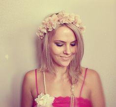 nude flower head crown headband, hair wreath, statement,