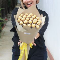 What better way to sweeten someone's day than with chocolates? 😍 Our Chocolate Love bouquet is the best way to someone's heart! Check out our products at www. Food Bouquet, Candy Bouquet, Ferrero Rocher Bouquet, Edible Bouquets, Lindor, Chocolate Brands, Chocolate Bouquet, Chocolates, Ph