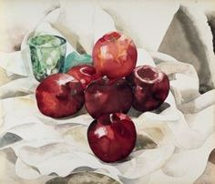 Charles Demuth Still Life with Apples and a Green Glass Watercolor over pencil on paper. The Art Institute of Chicago Watercolor Painting Techniques, Watercolor Paintings, Watercolors, Watercolor Fruit, Watercolor Flowers, Charles Demuth, Still Life With Apples, Still Life Flowers, Art Institute Of Chicago