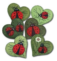 Lumenaris Ladybug Garden Ornament Wool Felt Kit Set Of 6 #2030191LUM