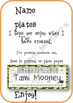 Jungle Color Name plates with free Alphabet Charts product from Ready-for-School on TeachersNotebook.com