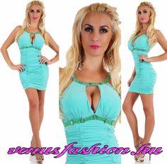 f302f5dff0 Türkiz színű dekoratív nyitott hátuljú női miniruha - Venus fashion női  ruha webáruház , ruha webshop, női ruha