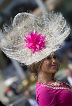 shleigh Johns in an ornate feather hat.
