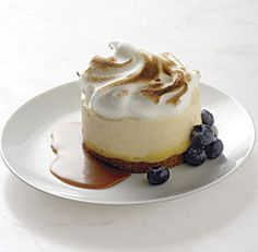 Frozen Lemon Cream Cakes with Toasted Meringue and Caramel Sauce
