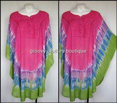 HIPPIE BOHO GYPSY tie dye LONG TUNIC Dress One Size