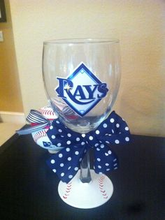 Tampa Bay Rays wine glass!! http://www.etsy.com/listing/96681534/tampa-bay-rays-wine-glass