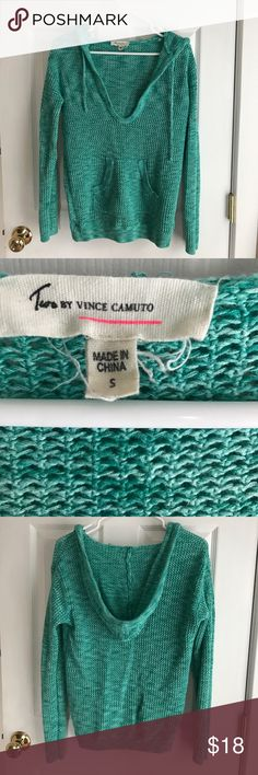 Sea foam Green Vince Camuto Sweater Beautiful sea foam green colored, hooded Vince Camuto sweater.  Light enough for summer nights.  In good condition. Two by Vince Camuto Sweaters V-Necks