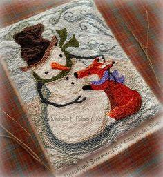 Michelle Palmer DMC floss fibers punch needle pattern snowman red fox winter meadow embroidery stitchery
