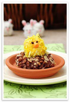 Lemonade Rice Krispie Treat Chick on Chocolate Cocoa Krispies Butter Cookie Nest
