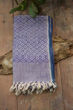 Hand-spun and handwoven Khadi shawl with diamond shaped twill weave by metaphorracha
