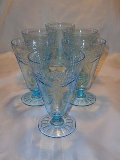 """EX RARE Fire King Philbe Dinnerware 5 1 2"""" Footed Tumblers Set of 6 in Blue"""
