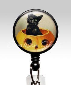 Halloween Black Cat Name Badge