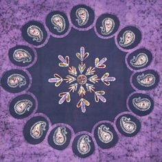 Handmade Multi Batik Tablecloth 100% Cotton 70x106 Rectangle Purple Gorgeous