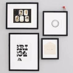 Gallery Frames, Set of 4, Assorted Sizes, Black Lacquer - Gallery Frames - Polished Nickel | west elm - 1 set of polished nickel, 1 set of black, and 1 set of white frames for the hallway gallery wall.