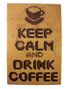 Keep Calm and Drink Coffee Perler Beaded Poster by enthusiart. This original hand made poster is made with 4,500 Perler beads. Measures 11 inches wide and 17 inches tall.