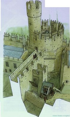 A reconstruction drawing showing how the arrangement of the well and drawbridge to the middle gate may have worked in the Tate thirteenth century (Illustration by Chris Jones-Jenkins, 2005).