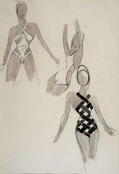 Ernst Dryden (1887-1938)  Swim Suits. Work on paper, Pencil & wash from the Ernst Dryden Archive