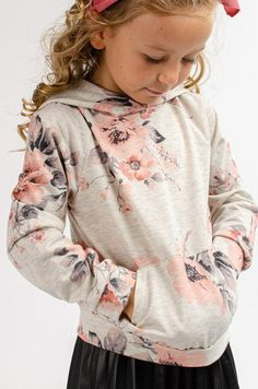 Feels Right Floral Hoodie for GIRLS in Oatmeal Grace And Co, Hooded Sweatshirts, Hoodies, Contemporary Fashion, French Terry, Love Fashion, Hooded Jacket, Oatmeal, Floral Prints