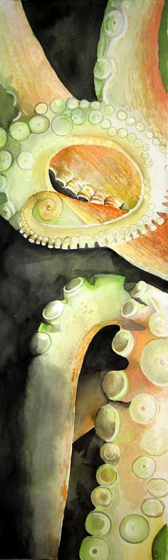 Tentacles original watercolor painting by corbettsparks on Etsy