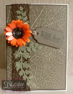 Angela Clerehugh Texture Embossing Folder – Leaf Vein (5 x 7), Centura Pearl Card, Core'dinations Distress Collection Card, Brown Card, Die'sire Ivy Die, Sunflower (small) Quilling Die, Itsy Bitsy Quilling Die, Stamen Quilling Die, Stamp from CC Inspirations Magazine,  Rhinestone Gem, Crafters Companion Tape Pen, Red Tape, Ribbon & Twine - #crafterscompanion #textures