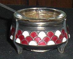 Russian Enameled Open Salt Cellar with Spoon by atticbasement, $22.00
