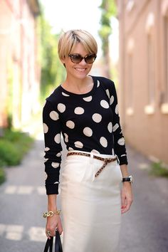 <3 All of my favorites, polka dots, black and white with a touch of leopard... loving the hair too