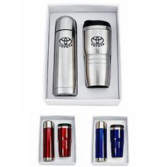 Perfect promotional giveaway item or corporate gift for the holidays: a Custom Tumbler Thermos Gift Set.  They can carry their coffee in a travel mug and have a back up thermos of hot coffee to freshen their cup later.