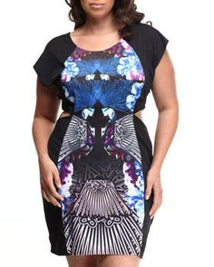 Love this Peacock Print Cutout Dress (Plus) by Baby Phat on DrJays. Take a look and get 20% off your next order!