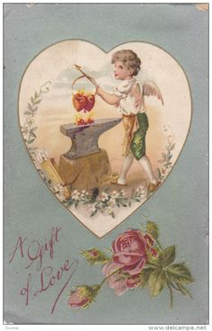 VALENTINE´S DAY: A GIft of Love, Cupid warming up red hearts over flames on…