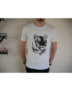 T-shirt blanc Majestic tête de tigre - 100% Coton bio - Homme